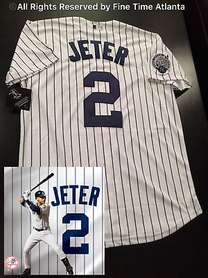 New Majestic Derek Jeter New York Yankees Home Captains Patch Jersey With Name Yankeeshome Yankeesdeco Derek Jeter New York Yankees Baseball Ray Lewis Jersey