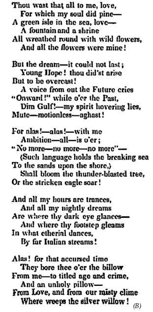 To One In Paradise Edgar Allan Poe Edgar Allan Poe Poem