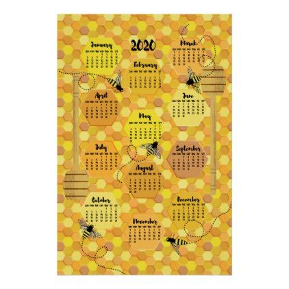 2020 Year Calendar Bees On Honeycomb Poster Calendars 2019 Personalized Calendar Full Year Calendar Calendar Honeycomb