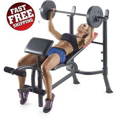 Ad Ebay Weight Bench With Weights 100 Lb Bar Set Barbell Home Gym Sale Press Dumbell Bench Workout Bench Press Workout Weight Benches