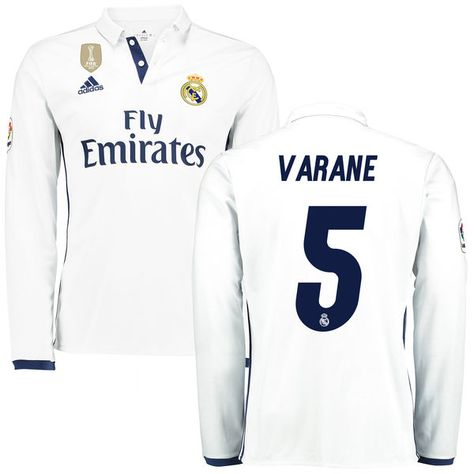d5141198e ... 5 raphael varane 2017 18 away youth black long sleeve jersey varane  real madrid adidas 201617