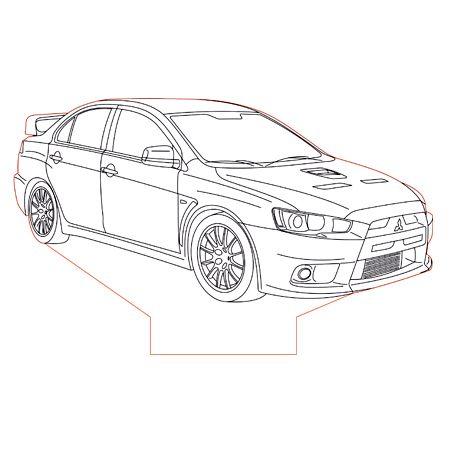 Mitsubishi Evo X Set 3d Illusion Lamp Plan Vector File For Laser And Cnc 3bee Studio Mitsubishi Evo Lowrider Drawings Evo X