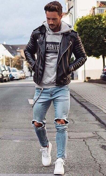 Shredded jeans and leather jacket is the best choice for  man in  Spring or Autumn