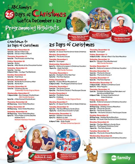 ce8e21f76aaf2d 2013 ABC Family s 25 Days of Christmas Schedule I print this out every year!  LOVE IT and HALLMARK....Yeah it s THAT time of year!!
