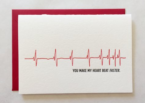 Heart Beat Card by Aleefont on Etsy