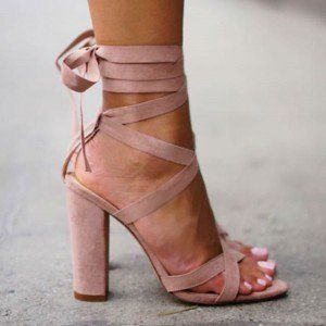 8a28fd4aa73a Pink Strappy Sandals Lace-up Suede Block Heels for Women