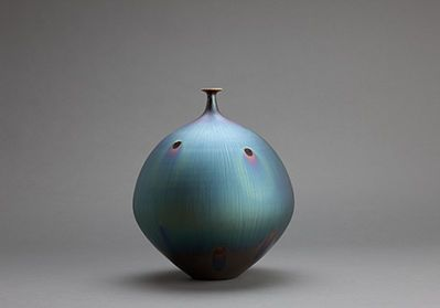 Hideaki Miyamura Vase Peacock Glaze Available For Sale Artsy Vase Contemporary Pottery Scandinavian Ceramic