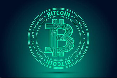 Bitcoin Symbol Cryptocurrency Abstract Green Background Vector Bitcoin Cryptocurrency Abstract Green Background