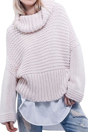 Womens Pretty Cowl Neck Long Sleeve Pullover Sweater Beige White - PINK QUEEN