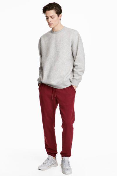 Pantalon Chandal Regular Fit Rojo Oscuro Hombre H M Co Fashion Fashion Online Clothes