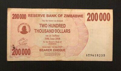 Zimbabwe 200000 200 000 Dollars 2007 P 49 Bearer Cheque World Currency Ebay Bearer Cheque 10 Million Dollars Dollar Banknote