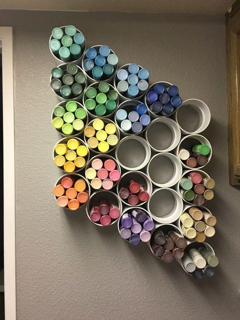 40 Cheap DIY Garage Storage Ideas You Can Do - craft room storage - Craft Room Storage, Art Supplies Storage, Diy Garage Storage, Art Storage, Storage Ideas, Diy Vinyl Storage, Marker Storage, Organizing Art Supplies, Pvc Pipe Storage