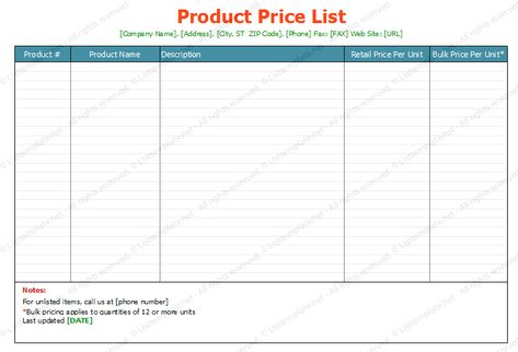 Product Price List Template (Standard Format) List Templates - price list format
