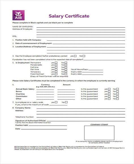 Salary Certificate Sample Certificate Templates Salary Templates
