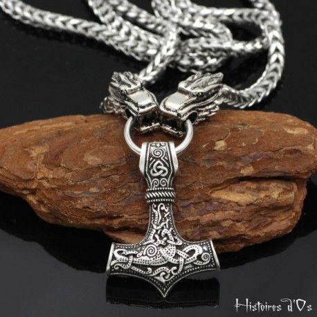 Vintage Hommes Bijoux Viking Thor/'s Thors Hammer Celtic Knot Loup Vikings Collier