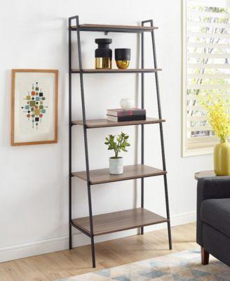 72 Inch Metal And Wood Ladder Shelf Brown Wood Ladder Shelf Saracina Home Ladder Bookshelf Metal and wood ladder shelf