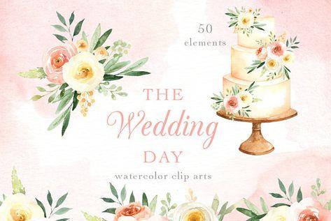 The Wedding Day Watercolor Clip Art Wedding Clipart Wedding Cake