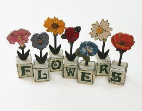 Vintage Rustic Wood Hand Painted Flower Blocks Garden Floral Spring Easter Decor Colorful Flowers De