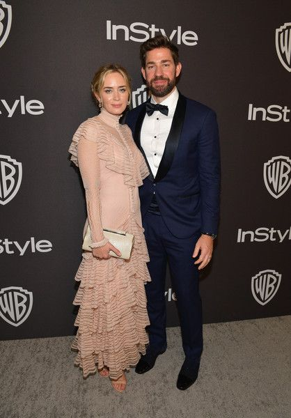 Emily Blunt (L) and John Krasinski attend the 2019 InStyle and Warner Bros. 76th Annual Golden Globe Awards Post-Party at The Beverly Hilton Hotel.
