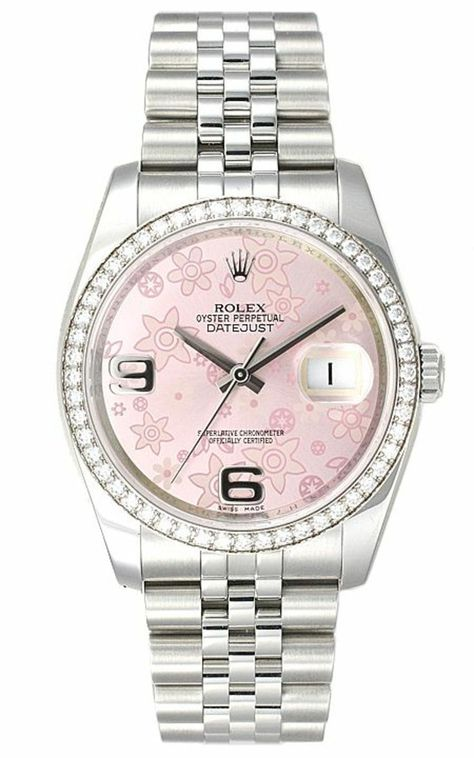 Rolex ladies watch with pink dial with floral print