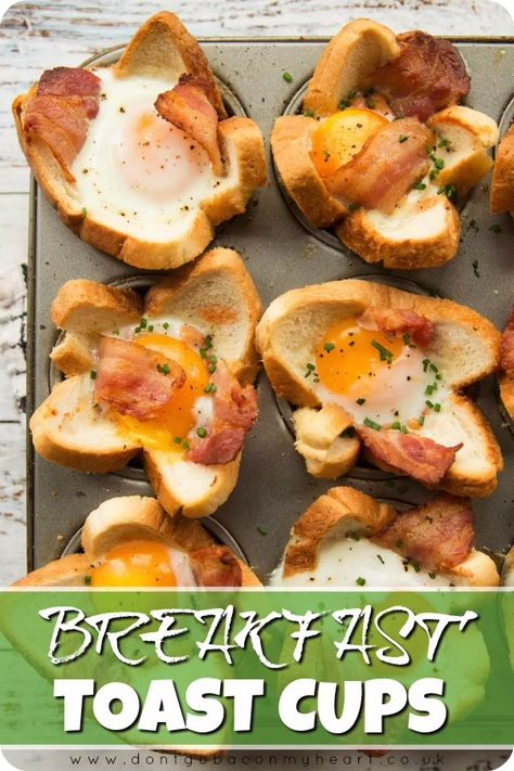 These Toast Cups are loaded with Bacon, Beans, Sausage and Egg – The perfect handheld Full English Breakfast! #breakfast #toast #toastcups #egg #bacon | www.dontgobaconmyheart.co.uk
