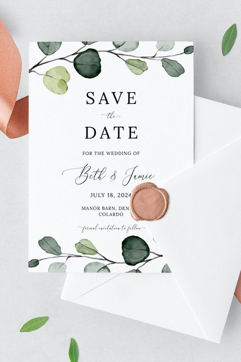 Greenery Save the Date Invite, Eucalyptus Save the Date Printable Template, Instant Download. Let your favourite people know the date of your upcoming wedding with this beautiful greenery Save the Date template. It's also 100% editable! Try before you buy! Click the link to try out the FREE demo! #greenerywedding #eucalyptuswedding #savethedate #savethedateinvite #modernsavethedate