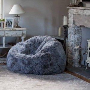 Giant Yeti Sheepskin Bean Bag Pewter Bean Bag Chair Bean Bag Living Room Grey Bean Bags
