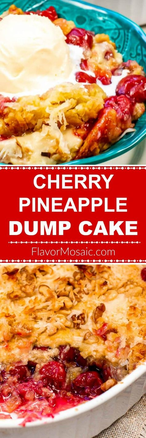 Cherry Pineapple Dump Cake is an easy 6-ingredient cake, with cherry pie filling, crushed pineapple, and cake mix, which is more like a cherry cobbler than a cake. #DumpCake #CrunchCake #CherryDumpCake #CherryPineappleDumpCake #FlavorMosaic