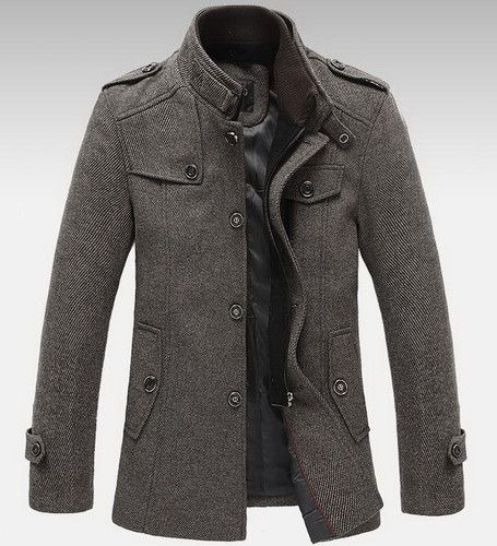Mens Standing Collar Coats Wool Jackets Warm Fleece Outerwear Gray ...
