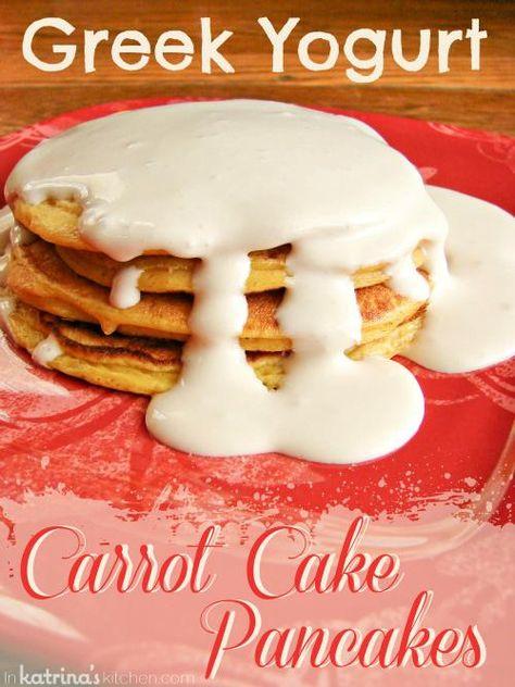 Greek Yogurt Carrot Cake Pancakes  via @KatrinasKitchen