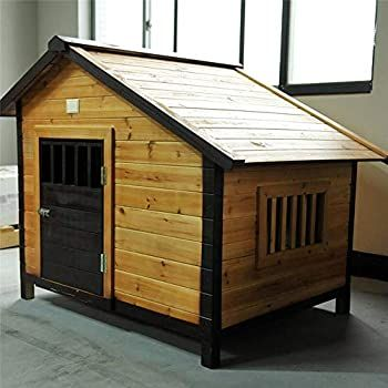 Alppq Doghouse Outdoor Solid Wood Dog House Waterproof Easy To