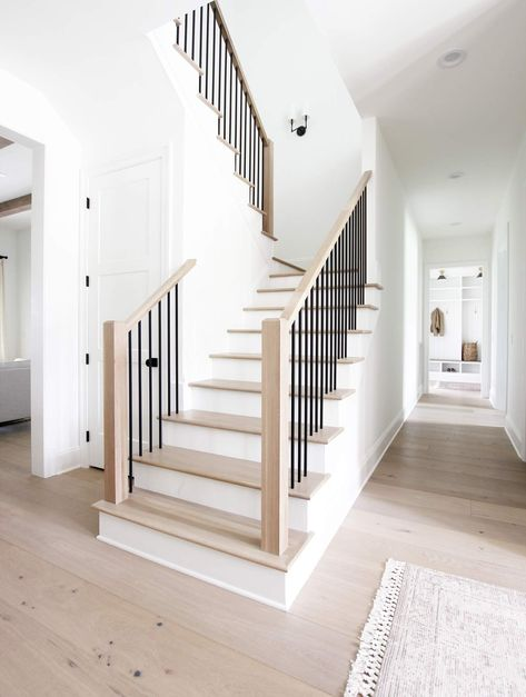 Four Elements of a Beautiful Staircase - Plank and Pillow There are so many components that go into House Staircase, Staircase Remodel, Staircase Railings, Staircase Design, Banisters, Staircase Ideas, Black Stair Railing, Metal Spindles, Spiral Staircases
