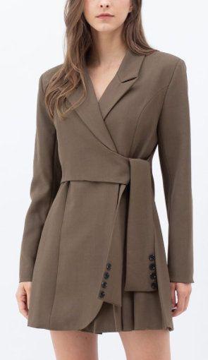 Tie waist pleated blazer dress in brown (sponsored)