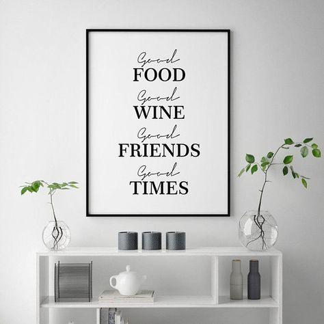 Kitchen Prints Wine Poster Food Print Friends Quote Print Wine