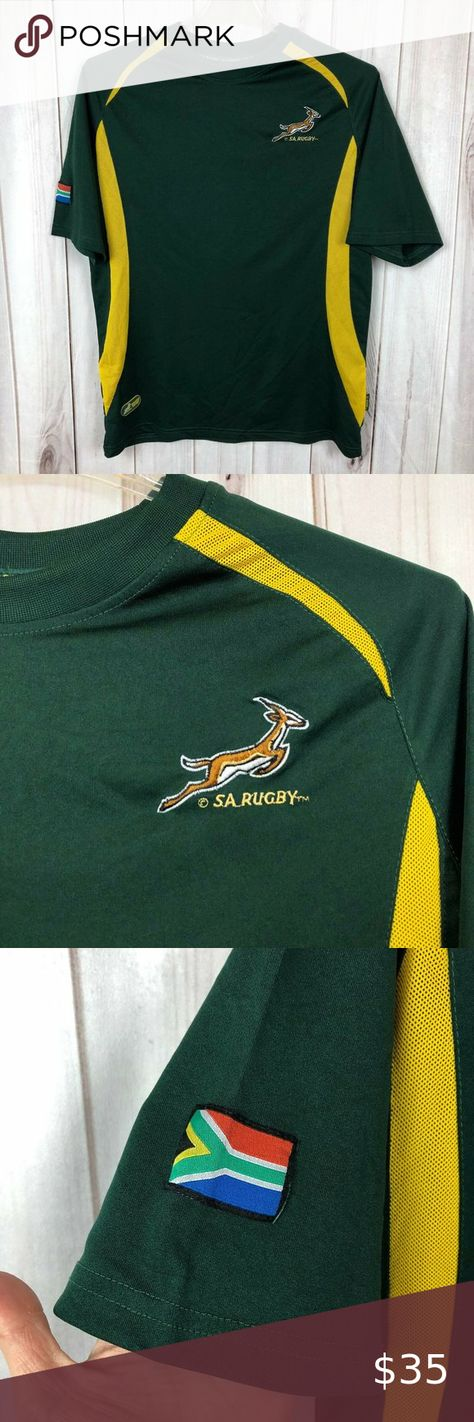South Africa SA Springboks Rugby Green Gold Mesh L Brand: SA Rugby  Style: Springboks mesh detail tee shirt  Size: adult men's large  Color: green, yellow mesh *Please note that blues/reds are difficult to photograph and the shade seen on the screen may slightly differ from actual shade.  Fabric Content: 100% polyester Washing Instructions: machine wash  Condition: smoke free home, worn  Please review all photos closely as these will be the best description of the item. If you have any questions