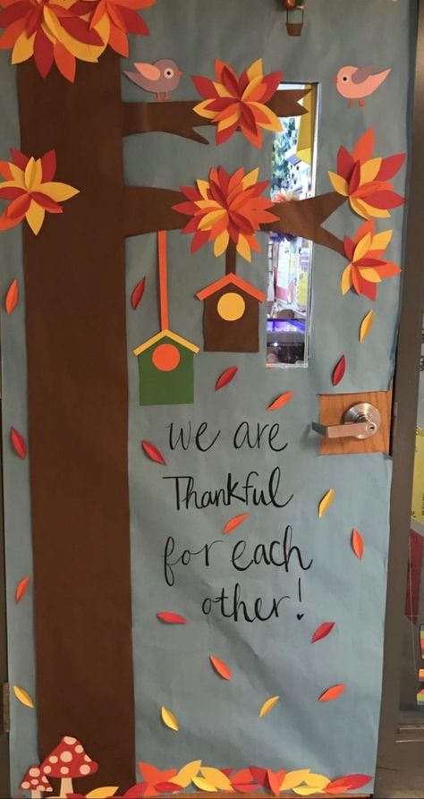 35 Best Classroom Decoration Ideas for Fall - Chaylor & Mads The best classroom decoration ideas for fall including cute fall bulletin boards, classroom door decorations. Plus, one idea you may not have thought of yet! Halloween Classroom Door, Fall Classroom Decorations, Halloween Door Decorations, Thanksgiving Classroom Door, Preschool Door Decorations, Thanksgiving Bulletin Boards, Seasonal Classrooms, Thanksgiving Crafts, Thanksgiving Decorations