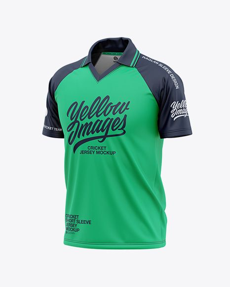 Download Men S Raglan Short Sleeve Cricket Jersey Polo Shirt Front Half Side View Of Soccer Jersey In Apparel Mockups On Yellow Images Object Mockups Clothing Mockup Shirt Mockup Design Mockup Free PSD Mockup Templates