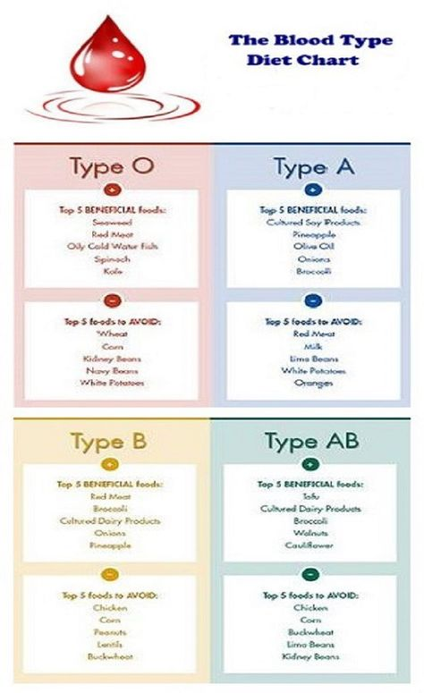 Blood Type Diet And Exercises For Healthy Joints And Mobility   Blood Type  Diet Chart