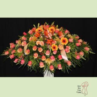 Coral Casket Casket Flowers Flower Delivery Casket