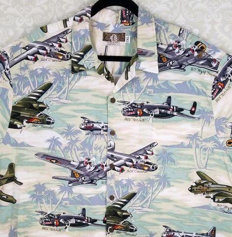 5e626070 Kalaheo Hawaiian Shirt USA Military WW2 Fighter Jet Planes M B-52 Mitchell  2XL #Hawaiian #Hawaiian