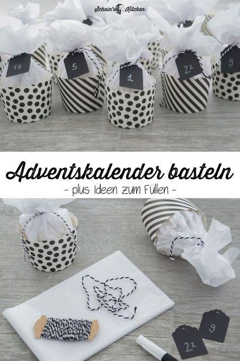 DIY Adventskalender basteln aus Muffinförmchen in Schwarz-Weiß - hübsch, schnell und einfach gemacht. Plus Ideen zum Befüllen mit Geschenken aus der Küche | www.schninskitchen.de #adventskalender #basteln #diy #muffins #geschenkeausderküche