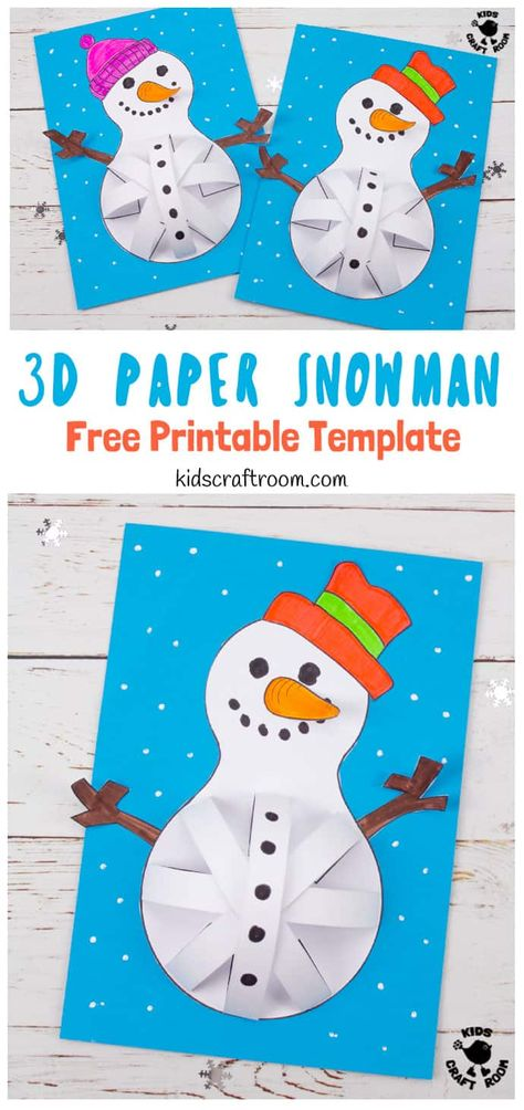 These 3D Paper Snowman Crafts for kids to make are so cute. Who could resist their round pot bellies and big smiles! This easy Winter craft for kids comes with a free paper snowman craft template. #kidscraftroom #wintercrafts #kidscrafts #snowmancrafts #snowmancraftspreschool #snowmancraftsDIY #papercrafts #printables #printablecrafts #kidsactivities #christmascrafts #snowman #snowmen