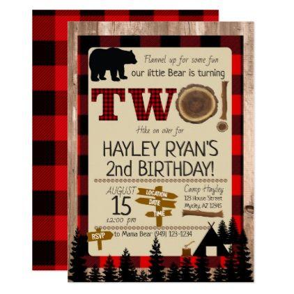 2nd Birthday Wild One Flannel Little Bear Theme Invitation