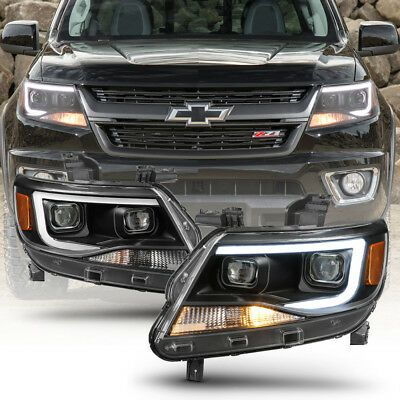 Black 2015 2019 Chevy Colorado Led Tube Drl Dual Projector Headlights Headlamps Chevy Colorado Accessories Chevy Colorado Chevy Colorado Z71