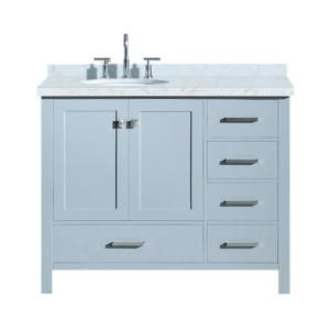 Ariel Cambridge 43 In Bath Vanity In Grey With Marble Vanity Top In Carrara White With White Basin A043s L Vo Gry Single Sink Bathroom Vanity Bathroom Sink Vanity Single Sink Vanity