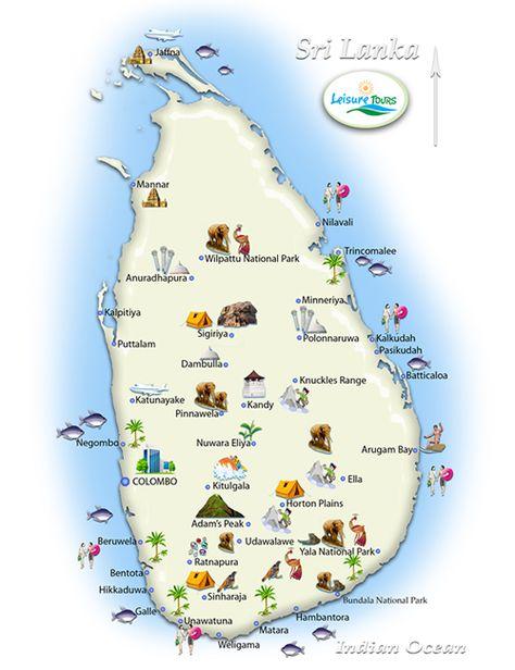 Sri Lanka Geografiske Kort Over Sri Lanka