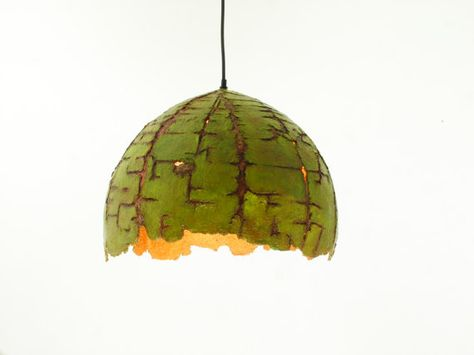Paper Pulp Lamp - Pendant Lamp - Hanging Lamp - Eco friendly - Recycled - Paper Mache - Mixed Media - Green - Gold - Model: Lizard