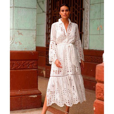 Front button-down shirt dress, inner lining.100% cotton