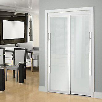 Veranda 48 Inch White Framed Frosted Sliding Door The Home Depot