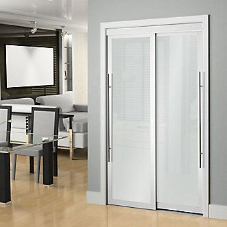 Veranda 48 Inch White Framed Frosted Sliding Door The Home Depot Canada Doors Interior Sliding Doors Interior Interior Barn Doors